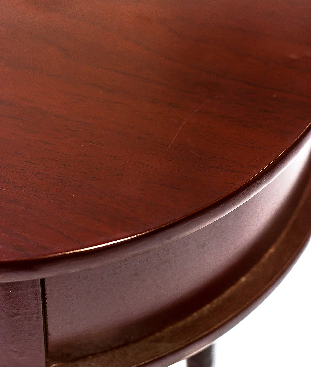 Mahogany Home Source Industries AF047 Oval Accent Table with Faux-Drawer and Lower Shelf