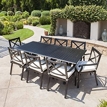 brushed aluminum dining table piece cast outdoor set with expandable chairs and