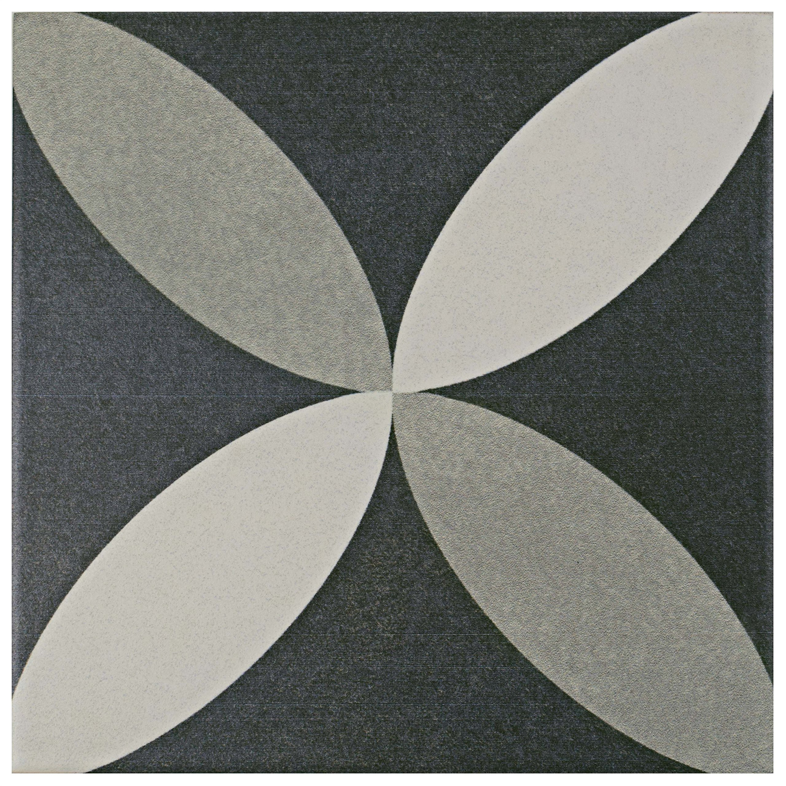 SomerTile FRC8TWEP Fifties Ceramic Floor and Wall Tile, 7.75'' x 7.75'', White/Grey