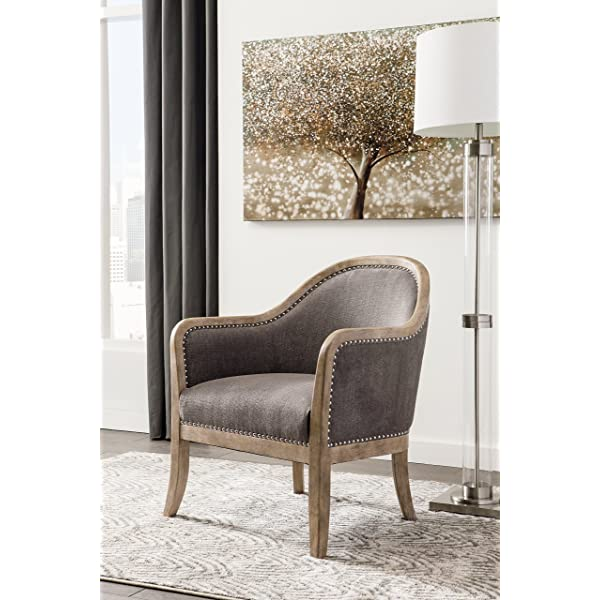 Ashley Furniture Signature Design Engineer Accent Chair - Contemporary Style - Heathered Gray - Silver Nailhead Trim
