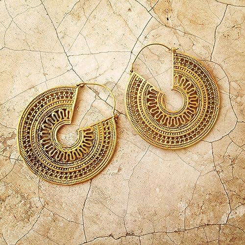 Super Amazon.com: Brass Earrings, Boho Earrings, Tribal Earrings, Hoop  RU54