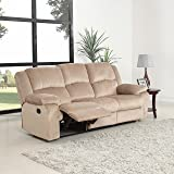 Oversize Traditional Classic Living Room Microfiber Double Recliner Sofa (Beige)