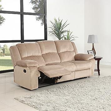 Bon Oversize Traditional Classic Living Room Microfiber Double Recliner Sofa  (Beige)