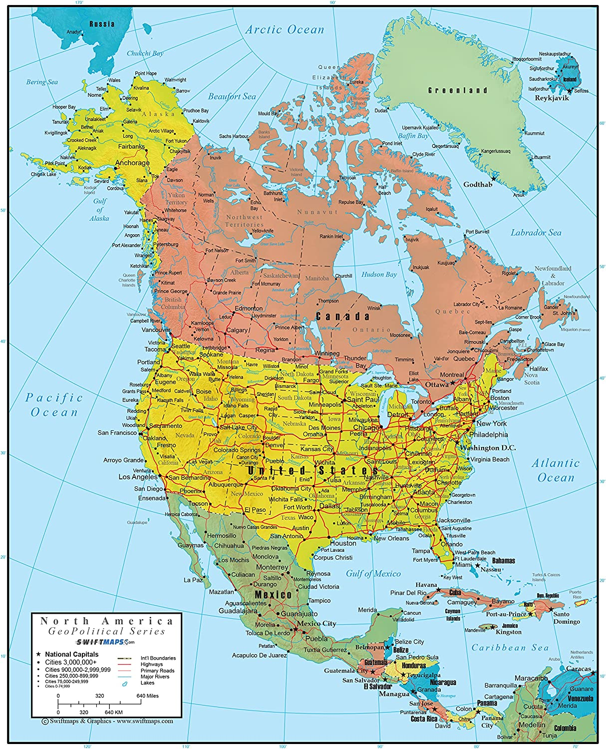 36x44 Laminated Swiftmaps North America Wall Map GeoPolitical Edition by