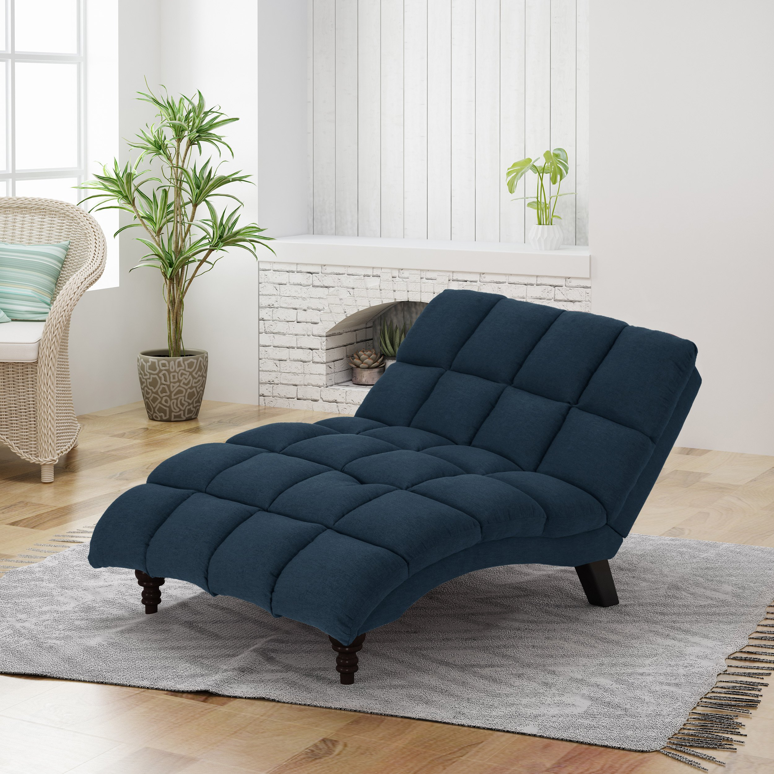 Christopher Knight Home Tom Traditional Tufted Fabric Double Chaise, Navy Blue/Dark Espresso by Christopher Knight Home