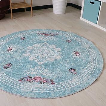 Amazon De Waschbarer Teppich In Turkis Vintage Rokoko Style