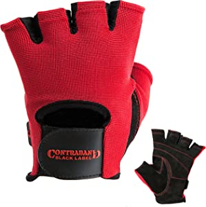 Contraband Black Label 5050 Mens Basic Leather Fingerless Weight Lifting Gloves - Durable Light - Medium Padded Split Leather Gym Gloves - Perfect Classic Lifting Gloves (Pair)
