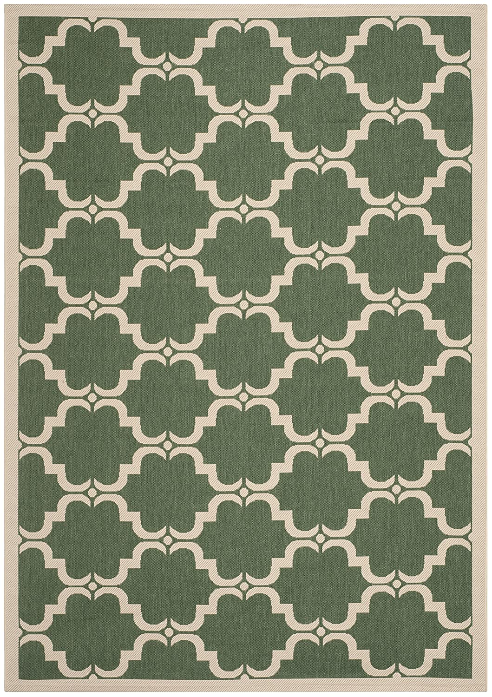 Safavieh Lugano In- und Outdoorteppich, CY6009-332, Dunkelgrün   Beige, 200 X 289  cm