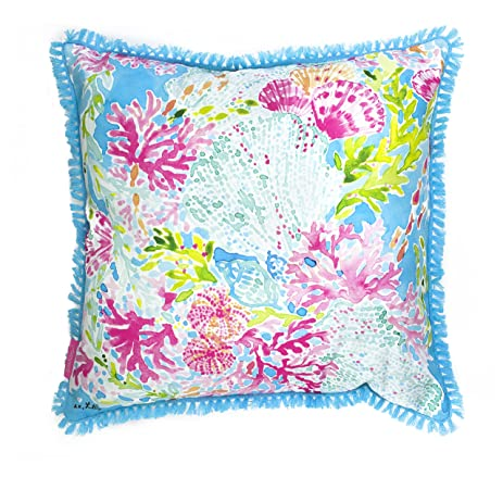 Amazoncom Lilly Pulitzer Coral Cay Large Pillow Home Kitchen