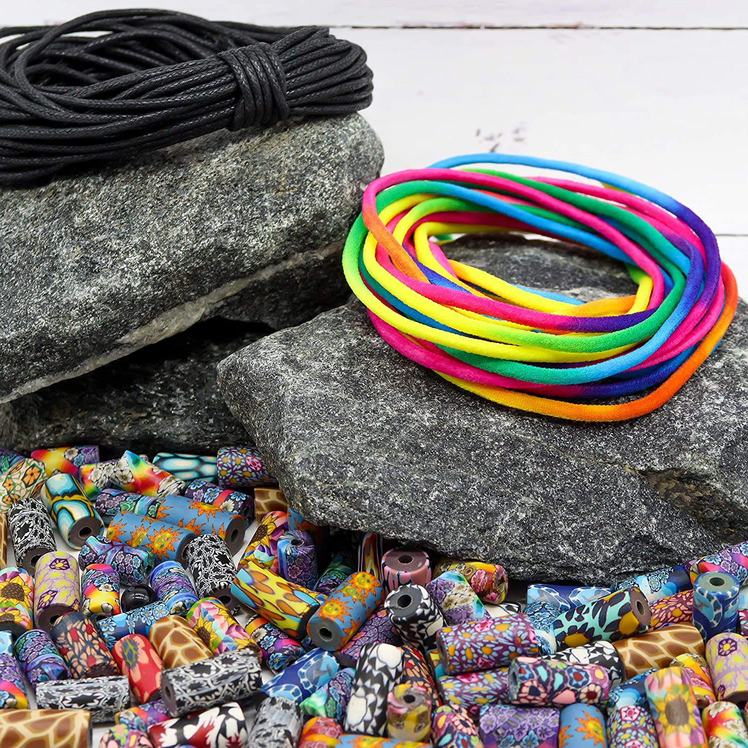 Clay Tube Crafts Beads Kit with 6m Tie-Dye Cord 10m Black Wax Cord and 3 Threaders 100 pcs Polymer Clay Beads for Jewelry Making Kit for Adults Quality DIY Jewelry Making Supplies Craft Kit