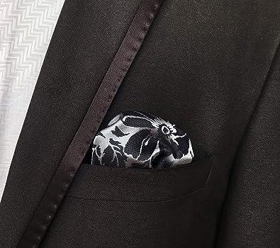Chris Vu Juego de corbata plata y antracita con gemelos y pañuelo ...
