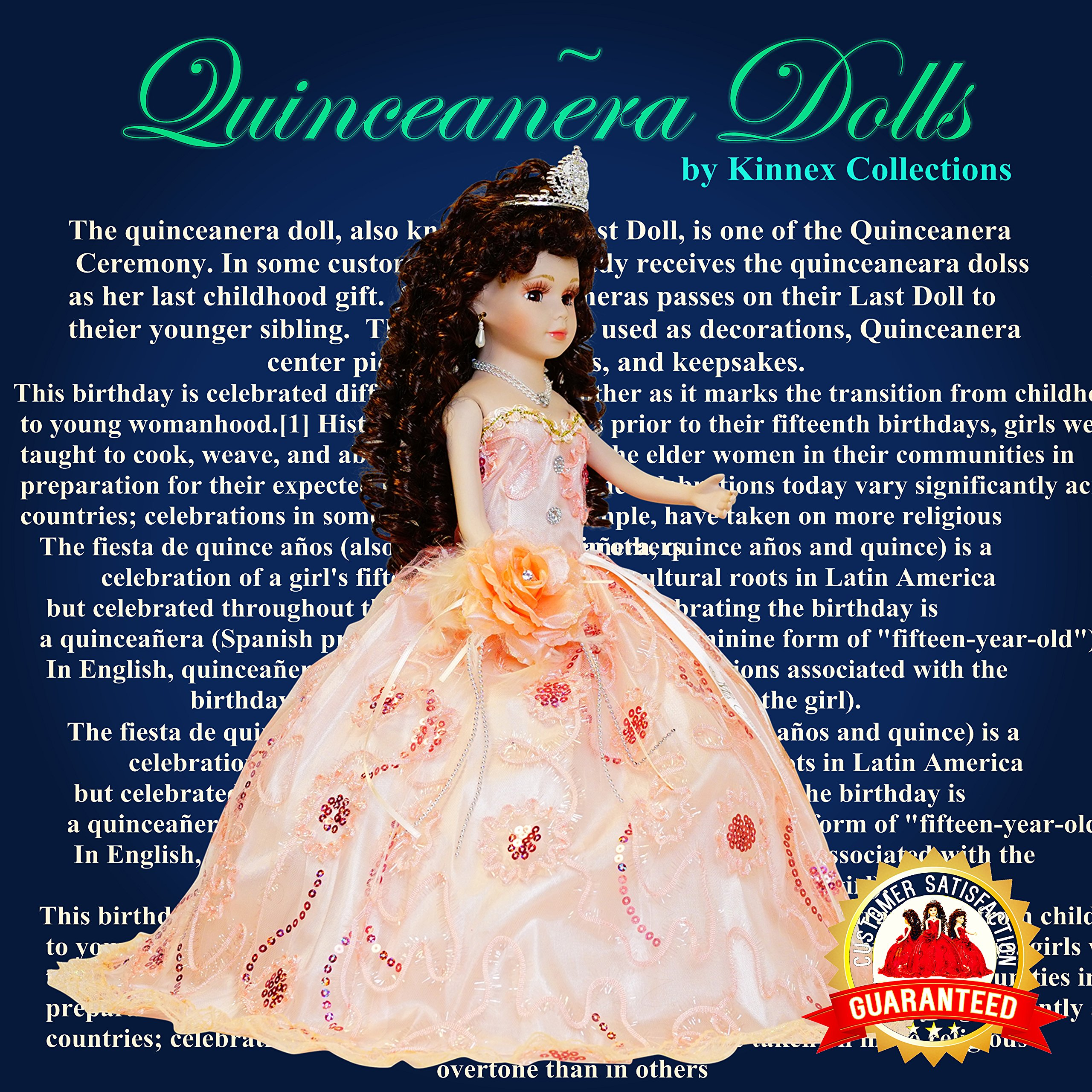 Kinnex Collections by Amanda 18'' Porcelain Quinceanera Umbrella Doll (Table Centerpiece)~ Peach~ KK18725-28 by Kinnex Collections by Amanda (Image #1)