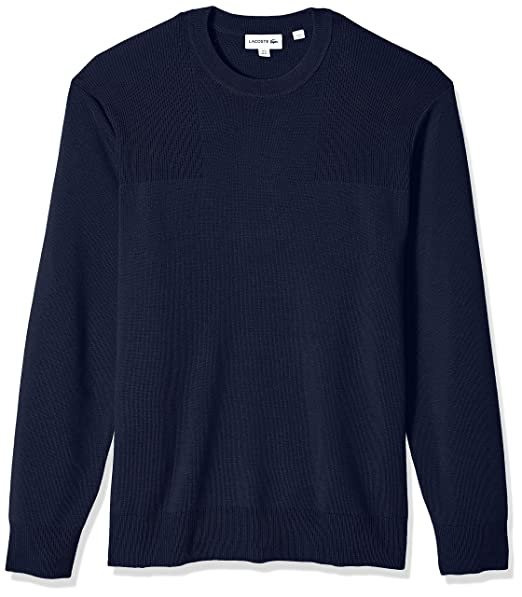 94d70bb0 Lacoste Men's Long Sleeve Motion Wool Crew Neck Sweater at Amazon ...
