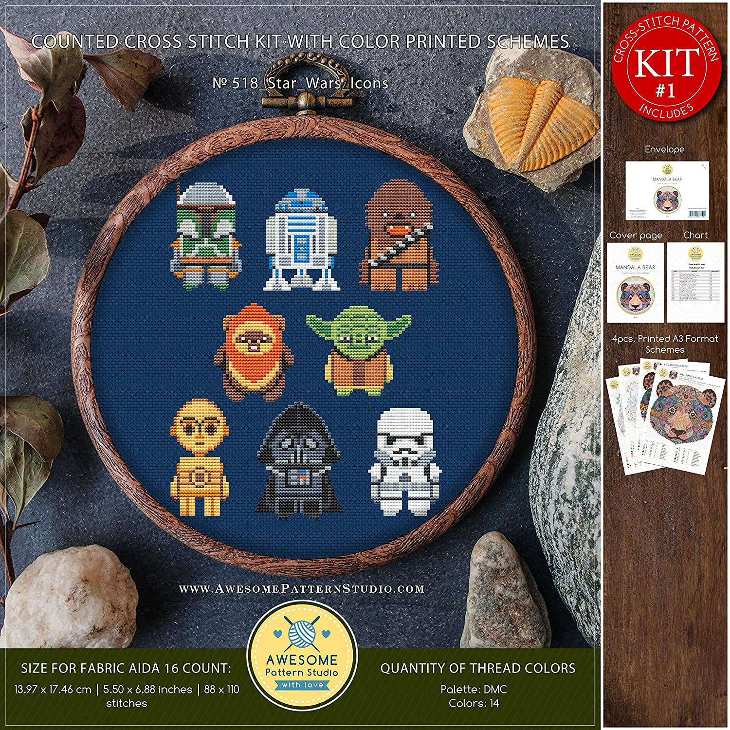 Cross Designs Embroidery Kits Star Wars Icons #K518 Embroidery Kit Movie Cross Stitch Kits Needlepoint Kits Embroidery Designs