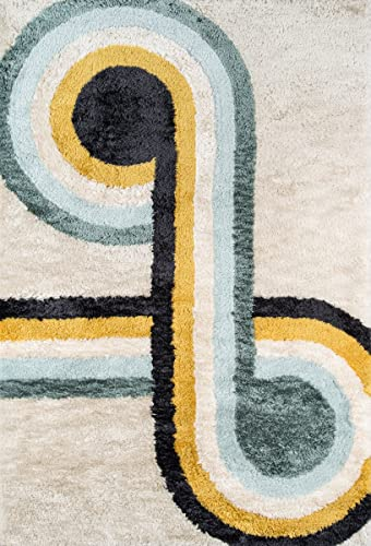Novogratz Retro Collection Bullseye Shag Area Rug