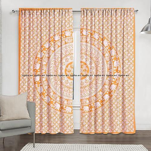 Sophia-Art Orange Elephant Hippie Mandala Curtain Kitchen Window Curtains Curtain Valance Set Dorm Tapestry,Indian Drape Balcony Room Decor Curtain Boho Set Hippie Curtain Panel