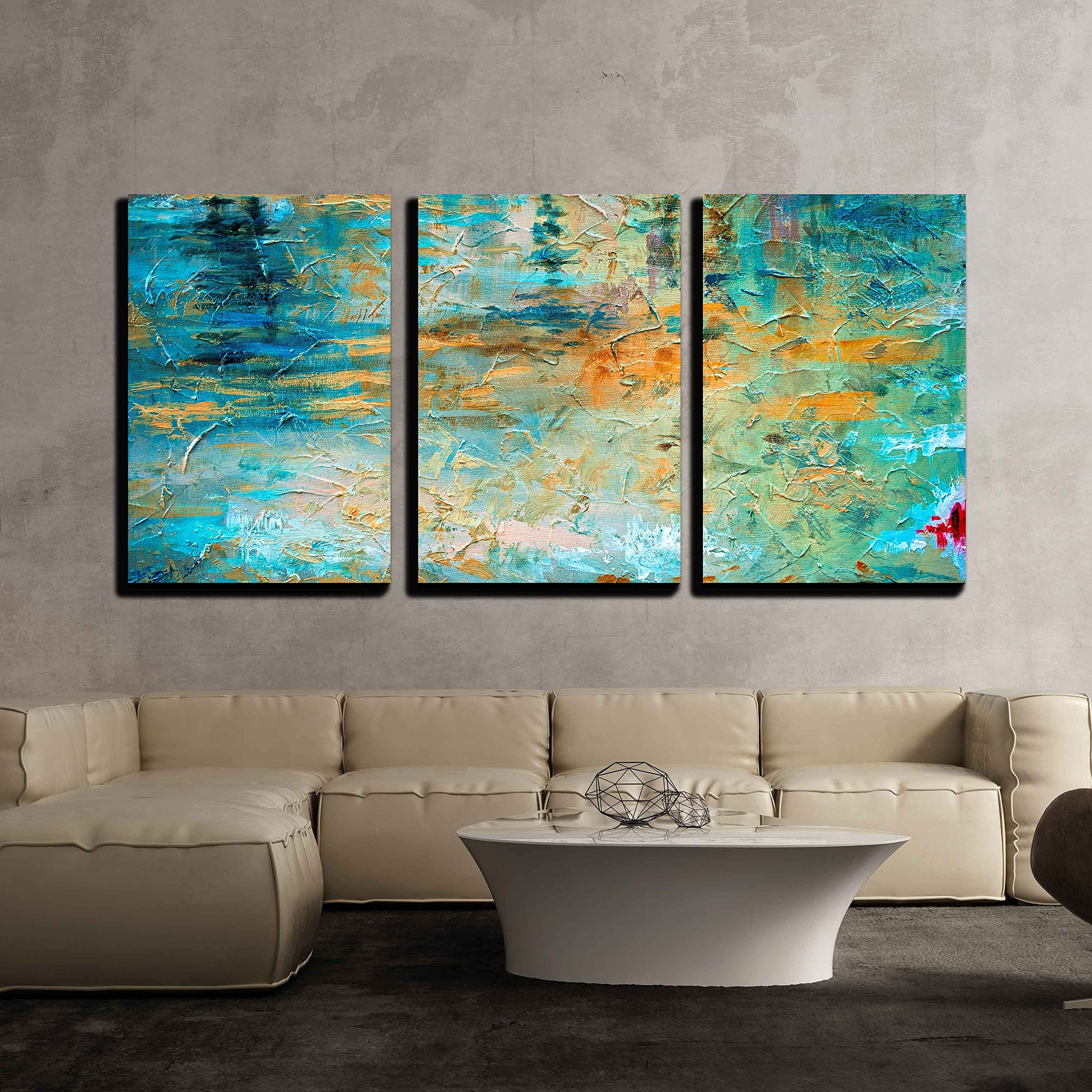 wall26 - 3 Piece Canvas Wall Art - Abstract Oil Paint Texture on Canvas - Modern Home Decor Stretched and Framed Ready to Hang - 24''x36''x3 Panels
