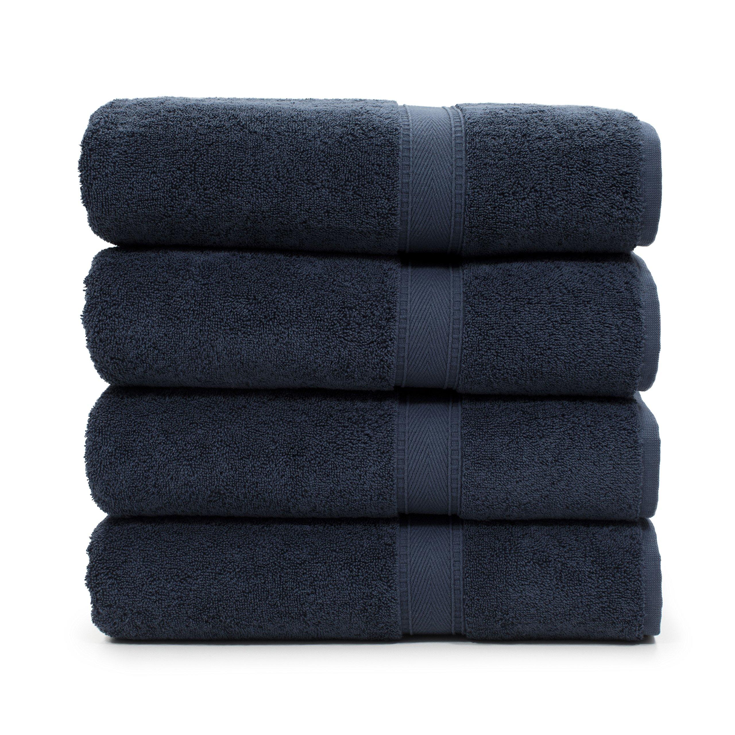 LT Elite Luxury Hotel & Spa Collection Premium Turkish Terry Cotton Bath Towel Set, 4 Bath Towels, Navy