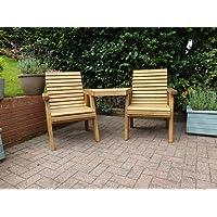 VonHaus Hardwood Love Seat Bench 2 Seater Jack /& Jill Garden Patio Furniture