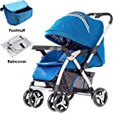 Baby Pram Pushchairs, Safe&Care Stroller Buggy One-hand Fold Efficient Suspension 3 Seating Positions Adjustable Footrest Travel Compact Suitable up to 3 years (Foot muff&Rain cover Included)-Dark Blue