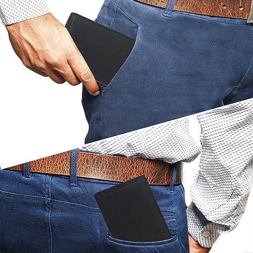 Eono Essentials Billetera de Cuero Genuino con RFID para Hombre-Moneda de Bolsillo Billeteras Delgadas de Tarjetas de cr/édito m/últiples