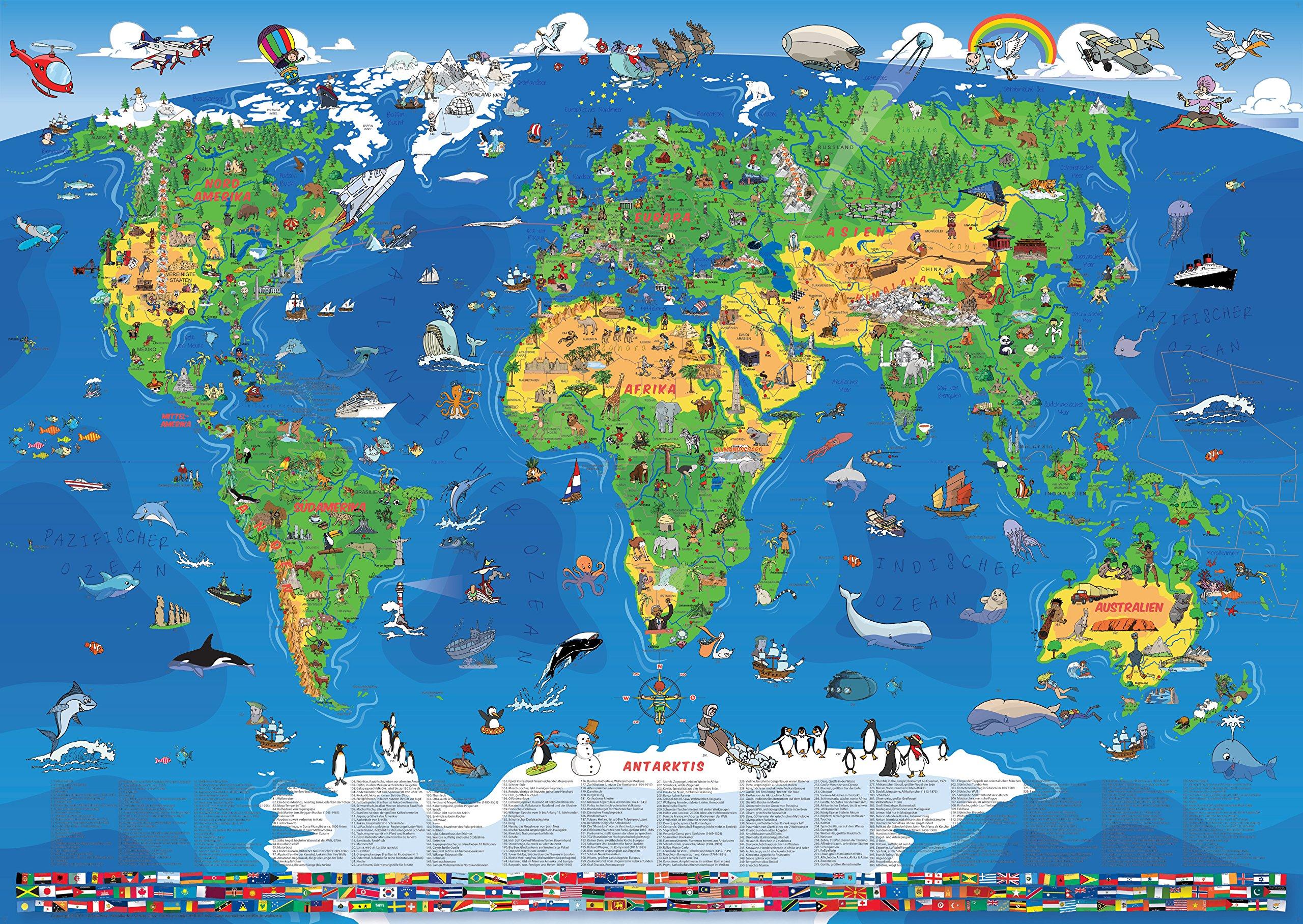 zeig mir die weltkarte NEU   XXL/1,35 Meter Panorama Kinder Weltkarte laminiert  zeig mir die weltkarte