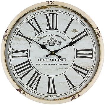 Perla PD Diseño Metal Reloj de pared con cristal vintage diseño Chateau Canet Altweiß lacado aprox. Ø 30 cm: Amazon.es: Hogar