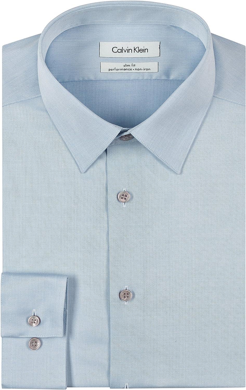 Calvin Klein Men's Dress Shirt Slim Fit Non-Iron Herringbone at  Men's Clothing store