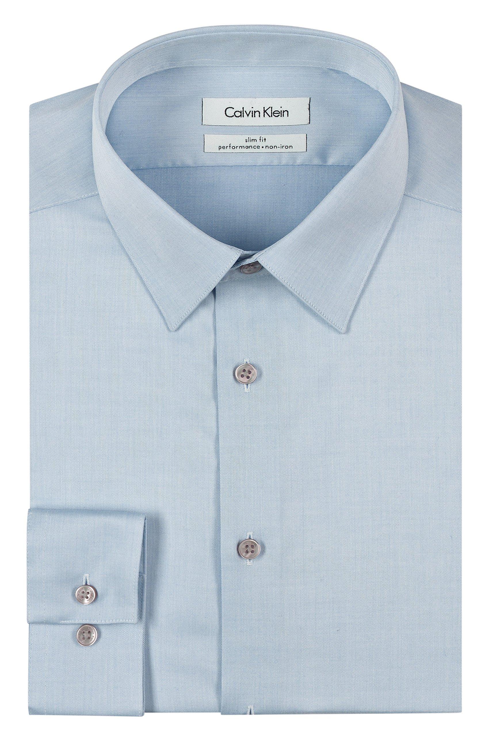 Calvin Klein Men's Dress Shirt Slim Fit Non Iron Herringbone, Blue, 15.5'' Neck 32''-33'' Sleeve
