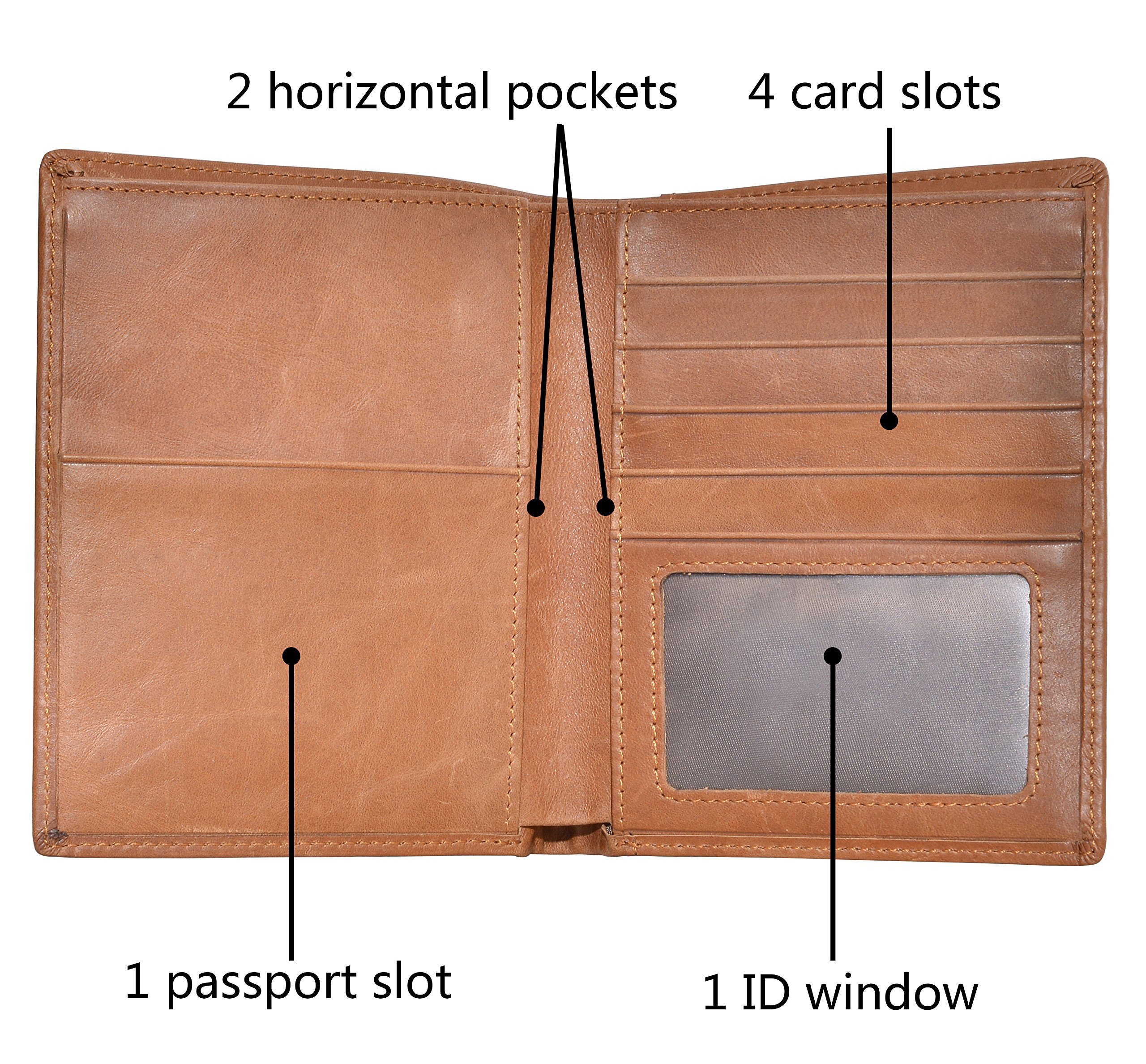 Outrip Genuine Leather Passport Wallet RFID Blocking Travel Card/Passport Holder (Brown) by Outrip (Image #4)