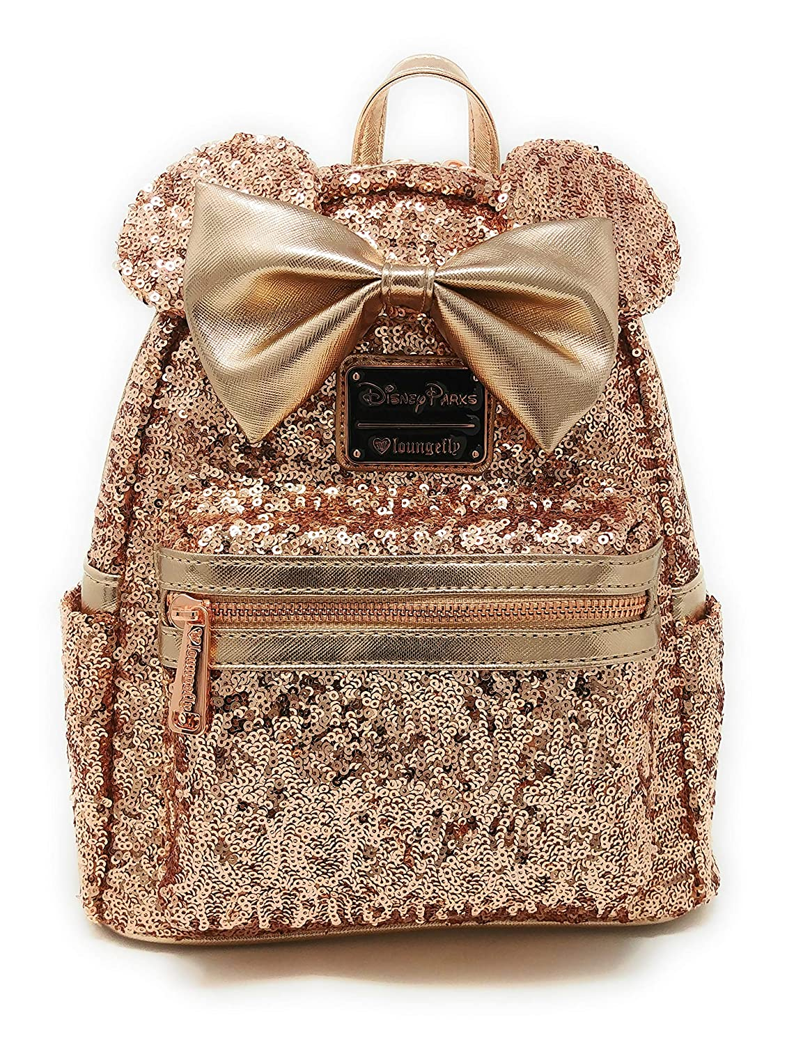 Amazon.com | Disney Parks Loungefly Rose Gold Minnie Mouse Sequin Backpack - Updated Style | Kids Backpacks