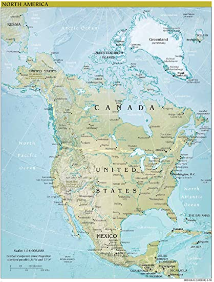 North America Map Physical.North America Map Physical 33 X 44 Peel Stick Removable Wall
