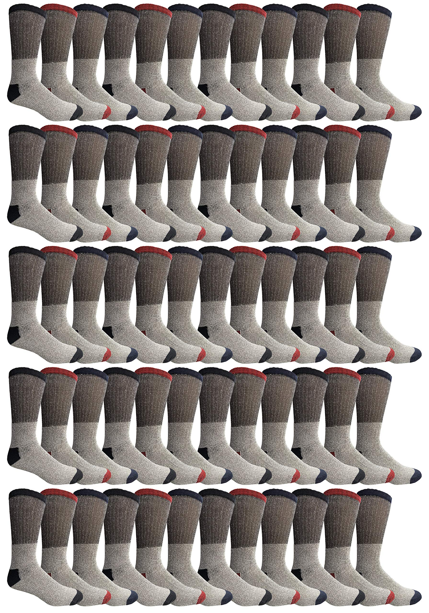 180 Pairs Case of Thermal Socks, Bulk Pack Thick Warm Winter Boot Sock, Extreme Weather, by Excell (60 Pairs Assorted, 10-13 (Mens)) by Wholesale Sock Deals