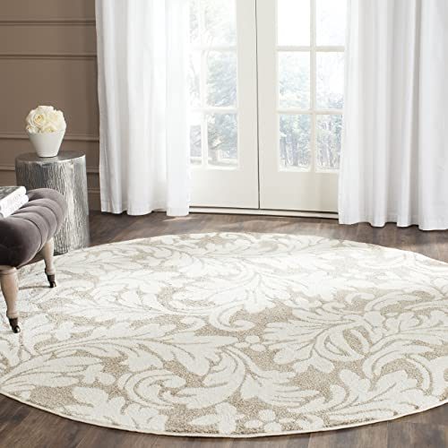 Safavieh Amherst Collection AMT425S Wheat and Beige Indoor/ Outdoor Round Area Rug 5' Diameter
