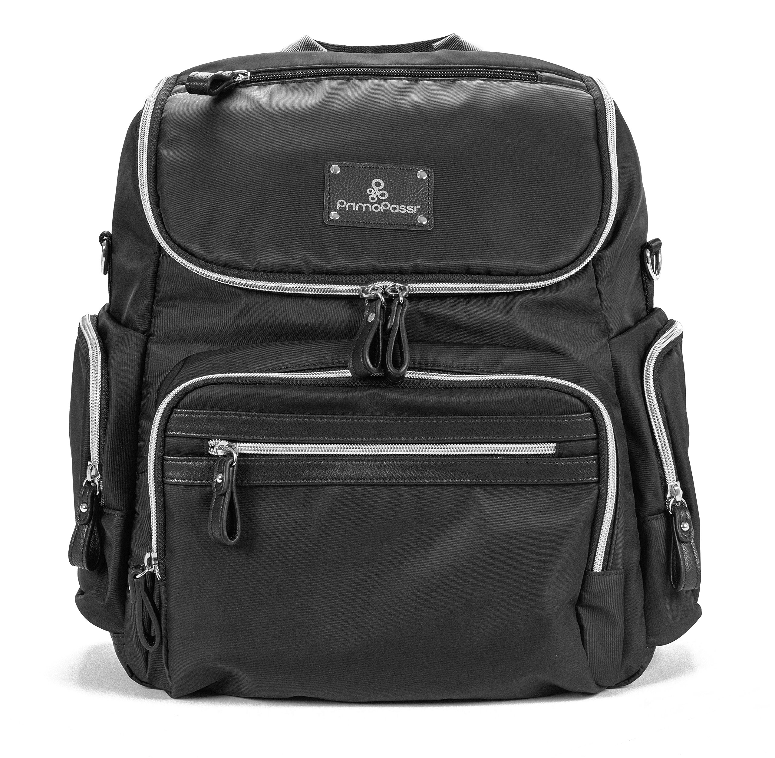 Primo Passi Vittoria Large Capacity Diaper Bag Multifunction Travel Backpack For Babies W/Changing Pad I Adjustable I Insulated Pockets I Black