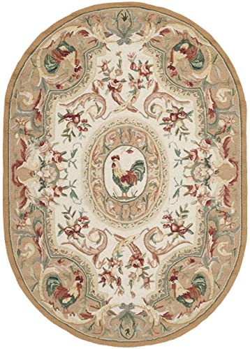 Safavieh Chelsea Collection HK48T Hand-Hooked Taupe Premium Wool Oval Area Rug 7 6 x 9 6 Oval