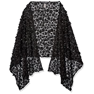 Karl Lagerfeld Paris Women's 3D FLOWER STOLE, black, 1SZ at Women's Clothing store
