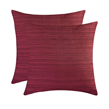 The White Petals Maroon Cushion Covers - Luxurious, Elegant & Decorative (18x18 inch, Pack of 2)