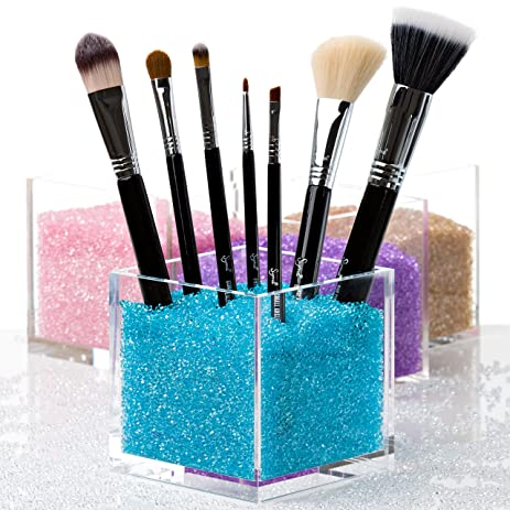 brush holder beads. cosmetic organizer \u0026 makeup with blue crystals. salon quality acrylic brushes holder brush beads u