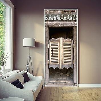 Papier Peint Porte Saloon X Cm Western Ouest Porte Battante - Papier peint porte