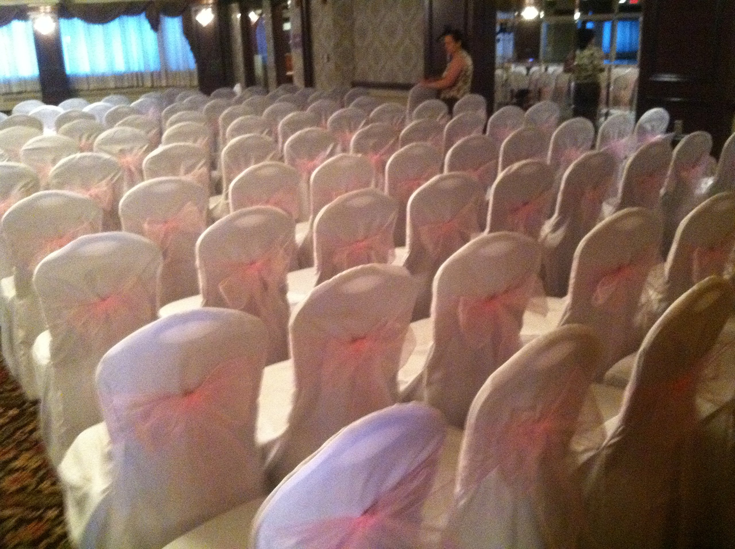 White Wedding Round Top Banquet Chair Covers-(set of 100) by Crazy Lights