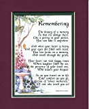 The Loss of a Loved One #102, Touching 8x10 Bereavement Poem, Double-matted in Burgundy/ Dark Green. Enhanced with Watercolor Graphics.