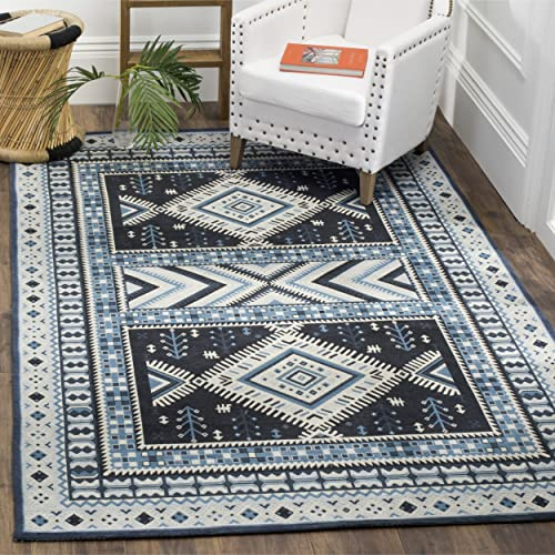 Safavieh Classic Vintage Collection CLV511A Navy and Light Blue Area Rug, 3 x 5