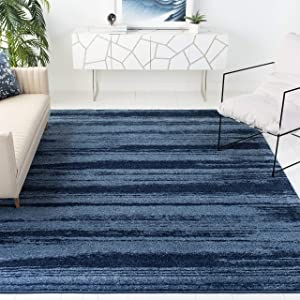 Safavieh Retro Collection RET2693 Modern Abstract Non-Shedding Stain Resistant Living Room Bedroom Area Rug, 6' x 6' Square, Light Blue / Blue