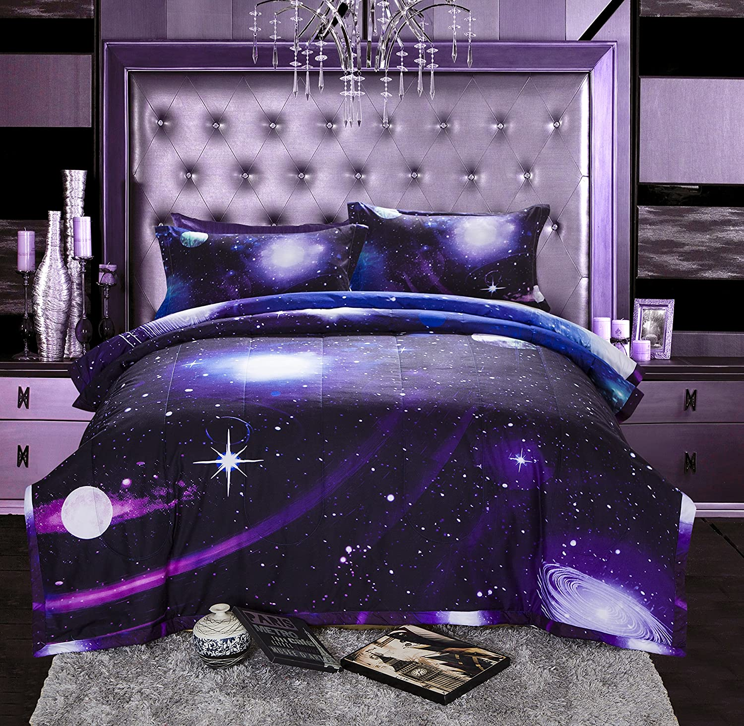 A Nice Night Galaxy 3D Printing Never Fade Quilt Outer Space Comforter Sets with 2 Matching Pillow Covers Full Size