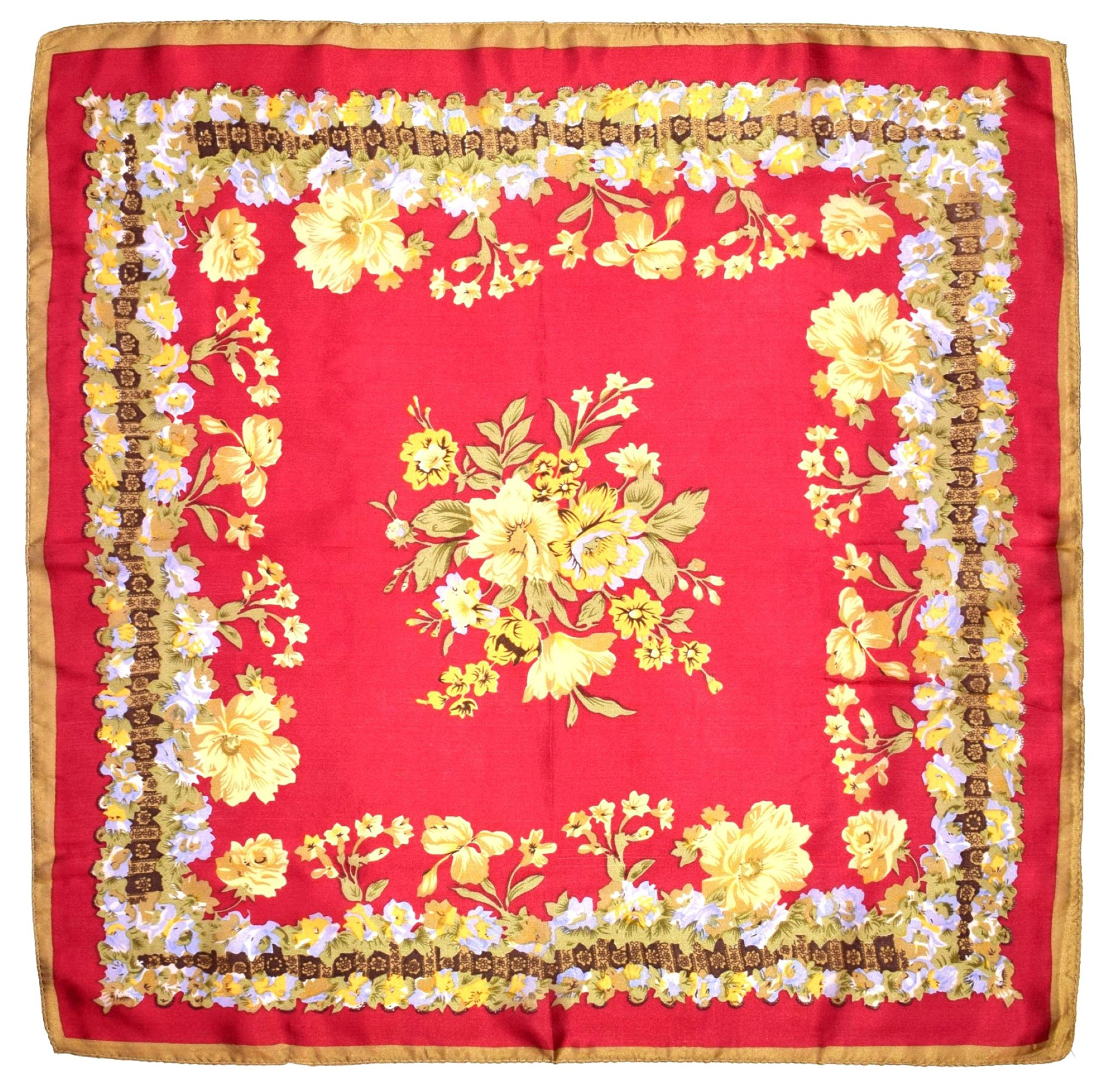 Red Yellow Flowers Printed Small Square Fine Silk Scarf by Bees Knees Fashion (Image #2)