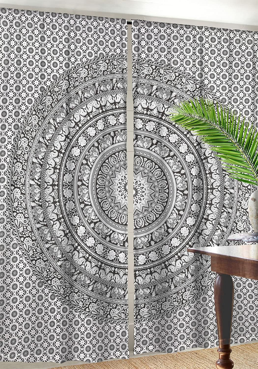 Indian Cotton Elephant Mandala Window Door Cover Curtain Hanging Drape Portiere