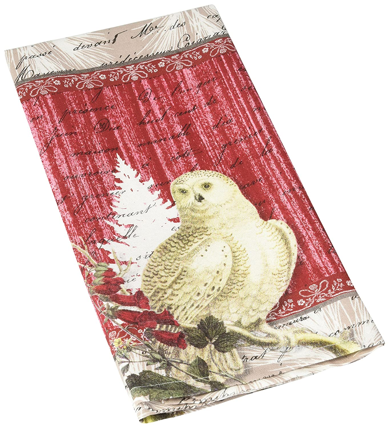 Paperproducts Design 35068 100-Percent Cotton Winter Woods Owl Kitchen Bar Towel, Multicolored