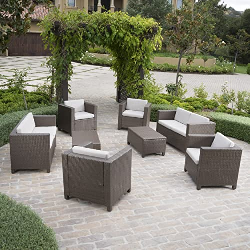 Christopher Knight Home 300462 8 Piece Puerta Outdoor Wicker Chat Set with Water Resistant Cushions, Brown Ceramic Grey