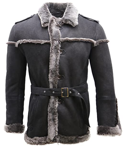 Giacca da Uomo in Pelle Scamosciata di Montone Nero Merino con Cintura  Stringata  Amazon.it  Abbigliamento 5790f55640e